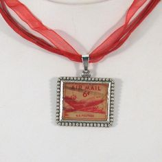 Vintage US Airmail Cancelled Postage Stamp Necklace by 12be