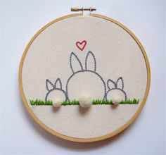 ADORABLE!!!  Mother  and Baby Bunny Rabbit Embroidery Hoop Art - Family Portrait. $40.00, via Etsy.