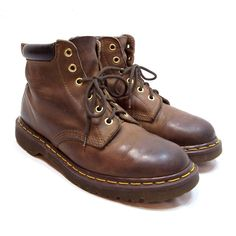 Dr. Martens Mens Brown Leather Boots England 6 Eye Lace Up UK Size 6 US Size 7 #DrMartens #AnkleBoots