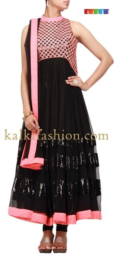 Buy it now http://www.kalkifashion.com/black-suit-with-embroidered-yoke.html Black suit with embroidered yoke