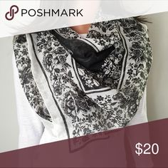 Sheer Floral Charcoal and White Scarf Soft and light. Larger size square shape scarf. White with charcoal floral print. Worn once, like new! 👗The Chic Shed; A Current and Classic Fashion Curation.👗 🎀10% OFF 2/15% OFF 3+ ITEM BUNDLE🎀 😊PLEASE USE OFFER BUTTON ❌NO PP, TRADES, HOLDS❌  🛍ITEMS ALWAYS 100% AUTHENTIC🛍 👑SUGGESTED USER👑 Merona Accessories Scarves & Wraps
