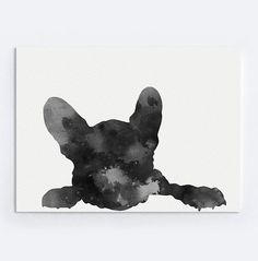 French Bulldog Image Black and White French Bulldog Poster. Dog Illustration Home Decor Giclee Fine Art Print.  Type of paper: Prints up to