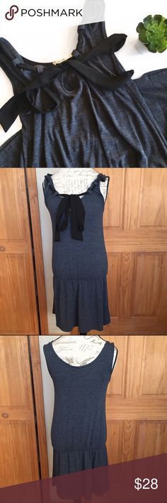 """Urban Outfitters Silence + Noise Ruffle Hem Dress Super cute jersey knit dress with dropped waist ruffle hem and keyhole neckline with tie around the neck. Approx. 36"""" L from shoulder to hem. Some light pilling and light wear to the fabric but still in great pre-loved condition with tons of life left!   🚫no trades 🚫no modeling ✅dog friendly/🚭smoke free home ✅reasonable offers ✅bundle & save! Urban Outfitters Dresses"""
