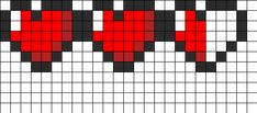 Zelda Heart Meter Pattern (to stitch together a granny quilt) Perler Bead Designs, Perler Bead Art, Kandi Patterns, Hama Beads Patterns, Beading Patterns, Cross Stitching, Cross Stitch Embroidery, Cross Stitch Patterns, Zelda Pixel