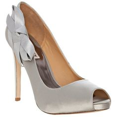 Badgley Mischka Silver Satin 'Oliver' Bow Detail Peep Toe Pumps ($96) found on Polyvore