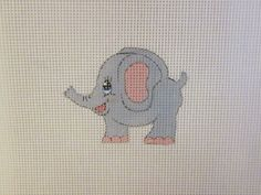 $13.95    Handpainted 13 Count  Needlepoint Canvas  Adorable  Baby Grey Elephant