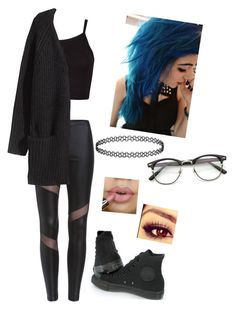 """○~○"" by bringmxthxhorizon ❤ liked on Polyvore featuring Converse and H&M"