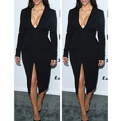 Women-Sexy-High-Slit-Deep-V-Bodycon-Clubwear-Party-Cocktail-Long-Sleeve-Dresses