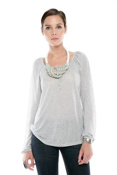Long-Sleeve Gray Top.