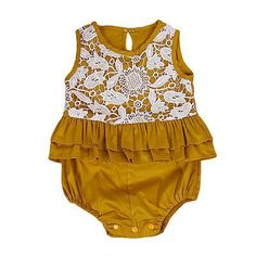Baby Clothing Cute Newborn Baby Girls Lace Patch work Romper Jumpsuit Outfits Sun-suit Clothes