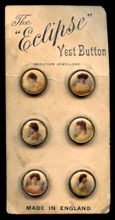 Antique Lithograph Waistcoat Button Card Set of Six Victorian Women circa 1890s