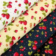 (Strawberry Cherry Fruit Flowers & Retro Polka Dot Spot. Cotton Fabric per FQ - VA93. Beautiful printing art of cotton. Sold per fat quarter (FQ). Fine quality 100% cotton print fabric. approx). Multiple order will be cut continuous as one piece. | eBay!