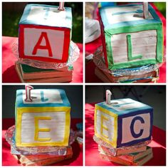 ABC Birthday - Alphabet block cake spells out name of child (only works for 4 letter names) and # First Birthday Board, Cousin Birthday, Baby Girl First Birthday, Birthday Fun, Birthday Ideas, Birthday Cake, Alphabet Birthday Parties, Mcdonalds Birthday Party, Alphabet Party
