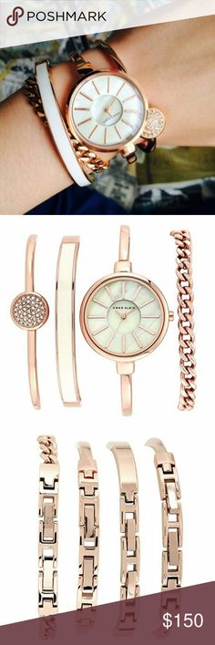 Anne Klein Rose Gold Watch & Bracelet Set Slightly domed mineral crystal; mother-of-pearl dial with rose gold-tone hands and markers; rose gold-tone bangle with adjustable end links; jewelry clasp and one extender Set includes a rose gold-tone chain bracelet, a bangle with ivory enamel inlay, and a bangle accented with 36 clear Swarovski crystals; all bracelets use jewelry clasp closure with one extender Japanese-quartz Movement Case Diameter: 32mm Water Resistant To 99 Feet Anne Klein…