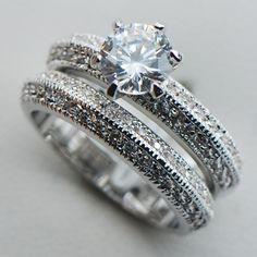 White Sapphire 925 Sterling Silver Engagement Wedding Two Ring Size 6 7 8 9 10 F1111 www.bernysjewels.com #bernysjewels #jewels #jewelry #nice #bags