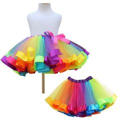 Let the party begin in this adorable Rainbow Kisses Tutu Dress! This adorable tutu dress features an elastic waist with all the colors of the rainbow, a ribbo