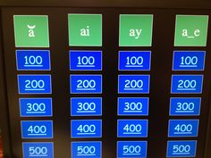 Jeopardy Game to practice short a and long a (ai, ay, a_e patterns) $1.00