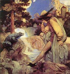 Максфилд Пэрриш (Maxfield Parrish) -  Лягушачий  король. в свои студенческие годы Пэрриш  выполнял невероятно сложные картины, часто его преподавателям-мастерам даже нечего было предложить ему что-то новое.
