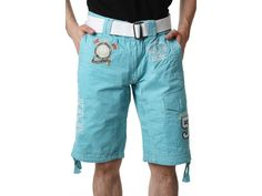 Men's GEOGRAPHICAL NORWAY Shorts Sale Price: $60.00 Orig: $90.00 Collection: PLANCHE  Color(s): Light blue - White - Gold  Composition: 100 % Cotton  4 Outside pocket(s)  Brand logo, Overstitching, Pattern  embroidery, Zip and button fastener S: 5 Available