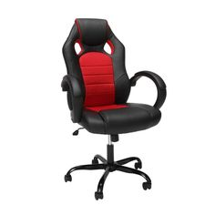 Essentials High-Back Racing Style Gaming Chair with Padded Arms - Red
