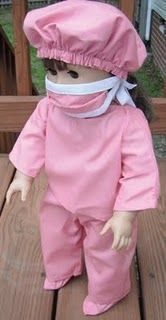 18-inch Doll scrubs to sew. Really cute free patterns on here
