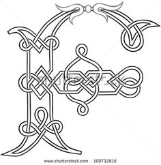 A Celtic Knot-work Capital Letter F Stylized Outline. Vector Version.