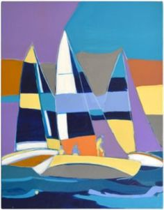 "For Georgie in her bedroom colours Lisa Fernald Barker: ""Regatta"". I found this on Serena & Lilly and I want it. Sailboat Art, Sailboat Painting, Sailboats, Nautical Quilt, Beach Quilt, Funny Paintings, Fabric Painting, Contemporary Paintings, Art Oil"