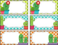 Cactus Cuties Labels, Signs and Posters **editable** by teaching with peace Crecen algo mejor que School Themes, Classroom Themes, 1st Day Of School, Back To School, Cactus Names, Cubby Tags, Binder Cover Templates, Drawing Clipart, Poster S