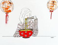 Ramen girl by Marta Scupelli • www.stripe-me.com