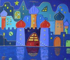 frei nach Hundertwasser mit Spiegelung - Bild / Kunst von Andrea ...