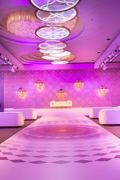 Entrance walkway to the stage where the couple was seated overlooking the ballroom setup