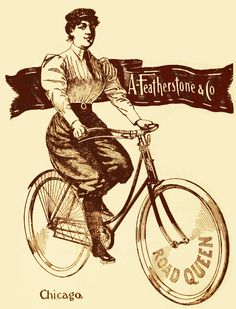 """""""Road queen,"""" indeed. Apparently, the illustrator of this ad thought there was something very normal about a D-cup and a 5 o'clock shadow. You can almost hear Freddie Mercury singing: """"BI-cycle! Old Bicycle, Bicycle Race, Pub Vintage, Vintage Ephemera, Antique Bicycles, Bike Illustration, Posters Vintage, Bike Poster, Old Advertisements"""