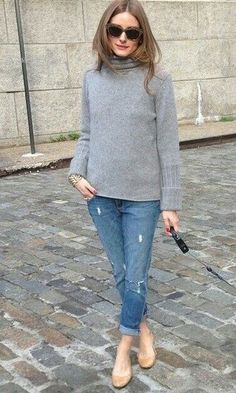 Look: Olivia Palermo de Gola Alta + Sapatilha