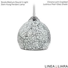 Nicola MEDIUM Round Stem Hung Pendant Lamp with Crackled Glass Shade-- Lustrous Pearl by Linea di Liara ✦ Uses 1 Medium Base (E26) Bulb - 100W Max (Not Included) ✦ http://lineadiliara.com/collections/pendant/products/nicola-medium-pendant #Lighting