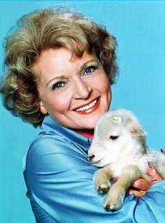 Beautiful Betty White, animal lover