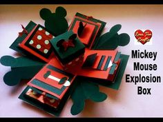 Explosion Box Tutorial | Mickey Mouse Themed Explosion Box - YouTube Diy Gift Box Template, Explosion Box Tutorial, Birthday Explosion Box, Exploding Gift Box, Origami Templates, Box Templates, Swing Card, Disney Cards, Pop Up Box Cards