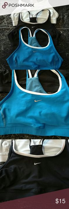 Lot of 3 Nike running bras Good condition running bras in blue, black and light blue. Cute spaghetti strap style is still very supportive.  All women's small. Pair with my other running bra listings for a bundle deal! Nike Intimates & Sleepwear Bras