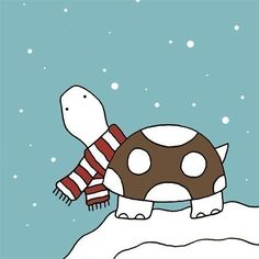 Tortoise in the snow - this is so so cute Turtle Quotes, Cute Turtles, Sea Turtles, Turtle Time, Tortoise Turtle, Terrapin, All Gods Creatures, Tortoises, Cute Art