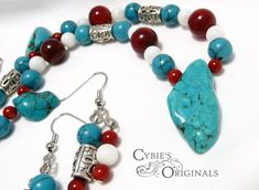 "Turquoise magnesite semi-precious semstones, deep red coral and Natural Rivershell beads with silver accents and chain. Includes matching earrings.  Necklace length __  plus 2"" extender chain."