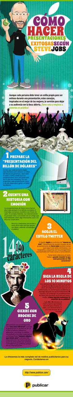 Cómo hacer presentaciones de éxito según Steve Jobs #infografia