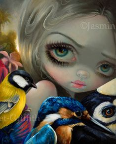 Birdsong 1 art by Jasmine Becket-Griffith new contemporary art by strangeling - big eyed art, birds, kingfisher, pop surrealism paintings by Jasmine Becket