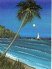 ACEO Original Acrylic Evening Sail Boat bay Harbor Palmtree Painting HYMES