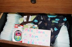 How I told my husband our baby news (May 7th 2013) :) I filled his tshirt drawer up with baby stuff, his reaction was unforgetable <3 ...Due with our baby boy Dec.27th