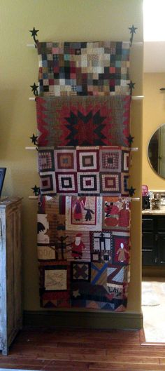 great quilt display from Libby at - Plain and Simple -