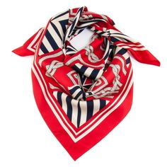 Biarritz Red, Navy and White Classic Silk Twill Square