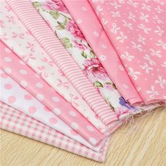 8pcs Pink Cotton DIY Sewing Fabric Handwork Curtain Patchwork Cloths at Banggood
