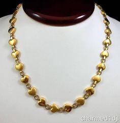 """Vintage NAPIER Gold Plated Heart Link Necklace 18.5""""L Adj. So Lovely! $28.00 SOLD"""