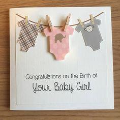 New Baby Boy/Girl Congratulations Peg Washing Line Card