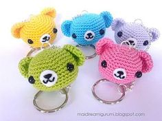 How sweet are these Amigurumi Teddy Bear Keychains and they're all FREE Crochet Patterns! All you need is a crochet hook, small amounts of leftover yarn, a bit of fiberfill, a darning needle, and a key chain and ring. They'll make a lovely gift. Marque-pages Au Crochet, Chat Crochet, Crochet Mignon, Kawaii Crochet, All Free Crochet, Crochet Crafts, Crochet Dolls, Crochet Projects, Crochet Octopus