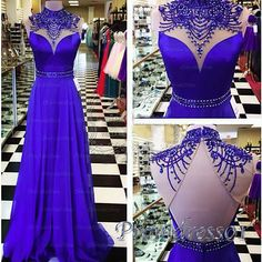 Beaded lace neck blue chiffon prom dress for teens, ball gown 2016 #coniefox
